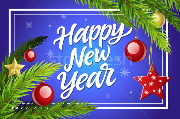 Happy New Year - modern vector realistic illustration with calligraphy text Stock photo © Decorwithme