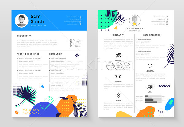 Personal CV- set of modern vector template illustrations Stock photo © Decorwithme