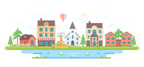 Cityscape with a fountain - modern flat design style vector illustration Stock photo © Decorwithme