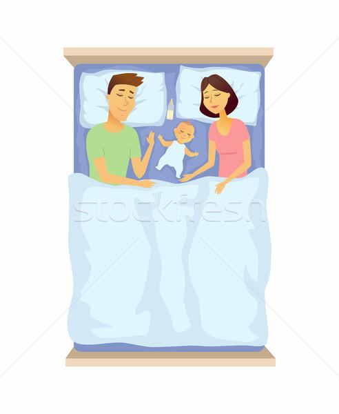 Fiatal szülők baba alszik rajzolt emberek karakter Stock fotó © Decorwithme