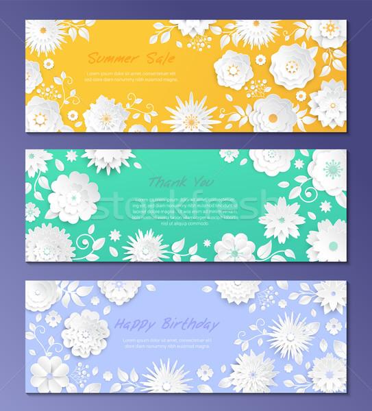 Сток-фото: бумаги · Cut · цветы · набор · современных · красочный