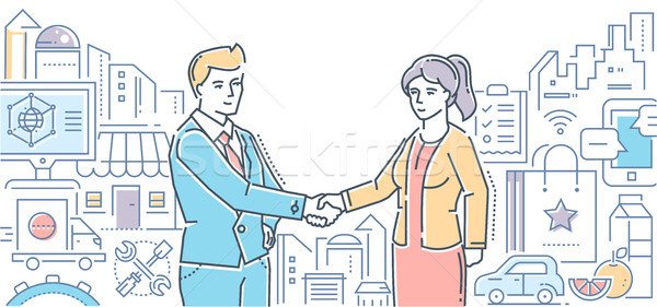 Small business helps people - line design style illustration Stock photo © Decorwithme