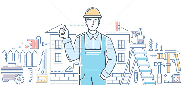 General worker - line design style illustration Stock photo © Decorwithme