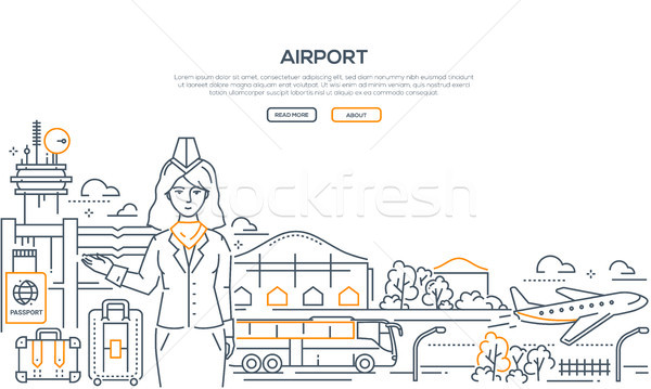 Airport - modern line design style illustration Stock photo © Decorwithme