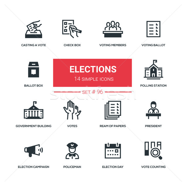 Elections - flat design style icons set Stock photo © Decorwithme