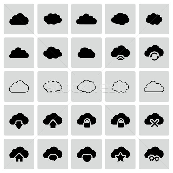 Set of isolated vector cloud icons Stock photo © Decorwithme