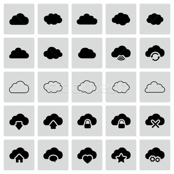 Foto stock: Conjunto · isolado · vetor · nuvem · moderno