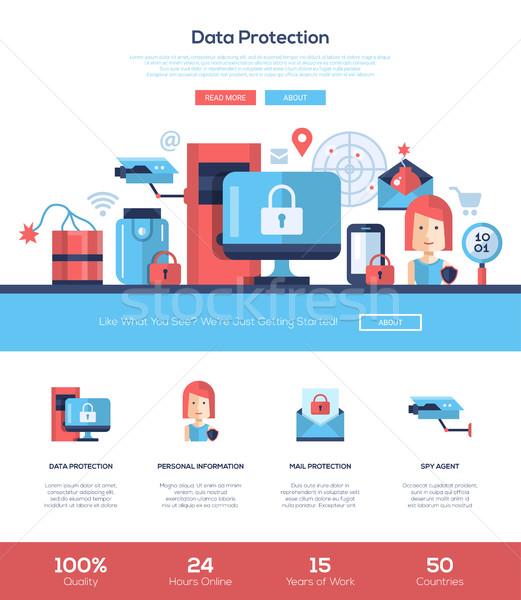 Datenschutz Dienstleistungen Website Kopfzeile Banner Stock foto © Decorwithme
