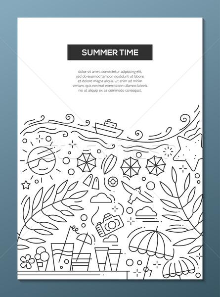 лет время линия дизайна брошюра плакат Сток-фото © Decorwithme
