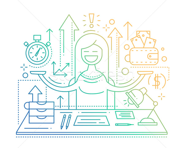 Time is money - line flat design illustration vector
