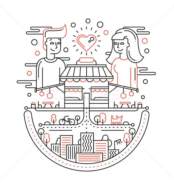 Amour ville ligne design illustration vecteur Photo stock © Decorwithme