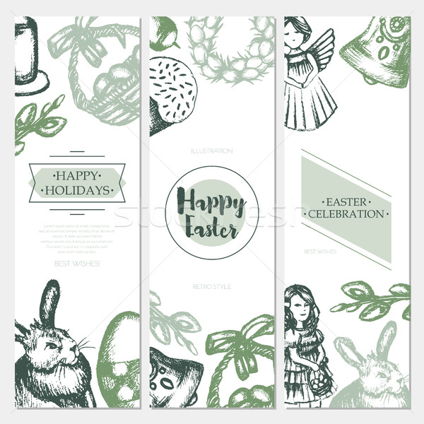 Happy Easter - color hand drawn square template card. Stock photo © Decorwithme
