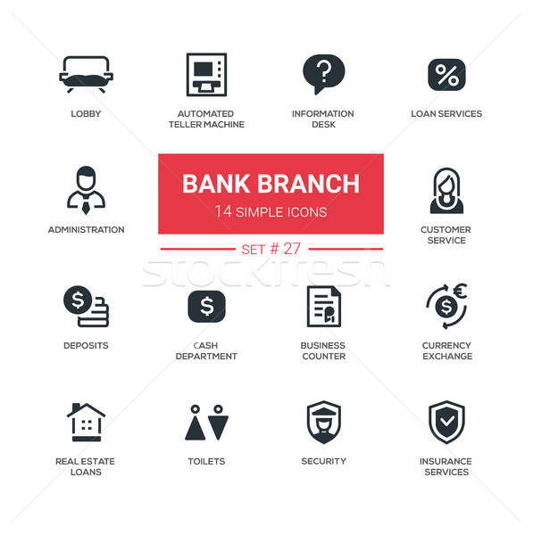 Banque branche modernes simple icônes pictogrammes Photo stock © Decorwithme