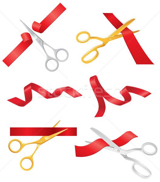 Wstążka nożyczki wektora zestaw obiektów realistyczny Zdjęcia stock © Decorwithme