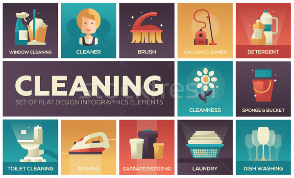 Cleaning - vector modern flat design icons set Stock photo © Decorwithme