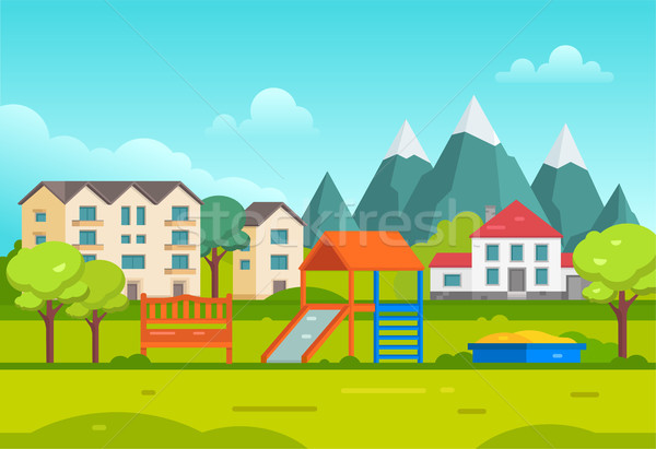Housing estate with playground by the mountains - modern vector illustration Stock photo © Decorwithme