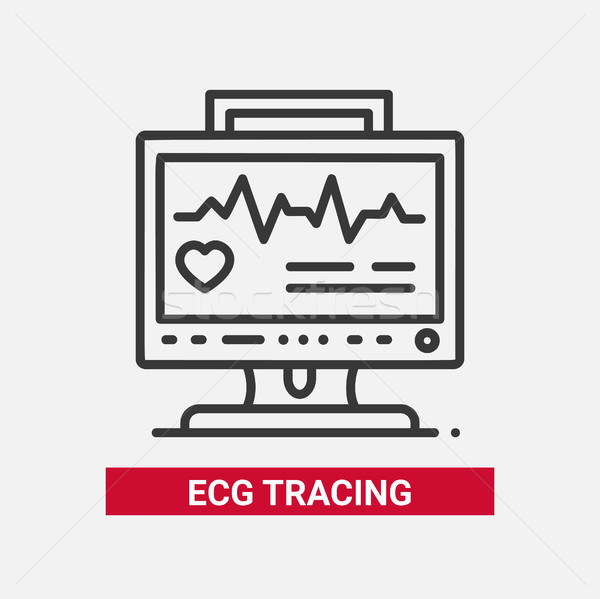 ECG tracing - line design single isolated icon Stock photo © Decorwithme