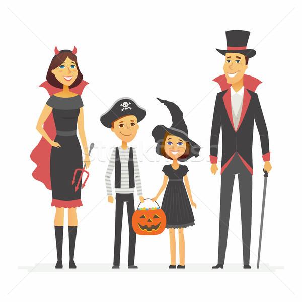 Stok fotoğraf: Aile · halloween · parti · yalıtılmış