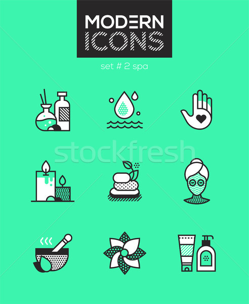 Beauty spa - set of line design style icons Stock photo © Decorwithme