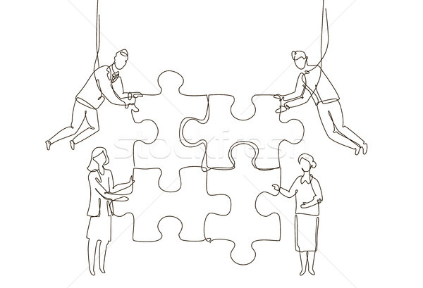 Business team doing a puzzle - one line design style illustration Stock photo © Decorwithme