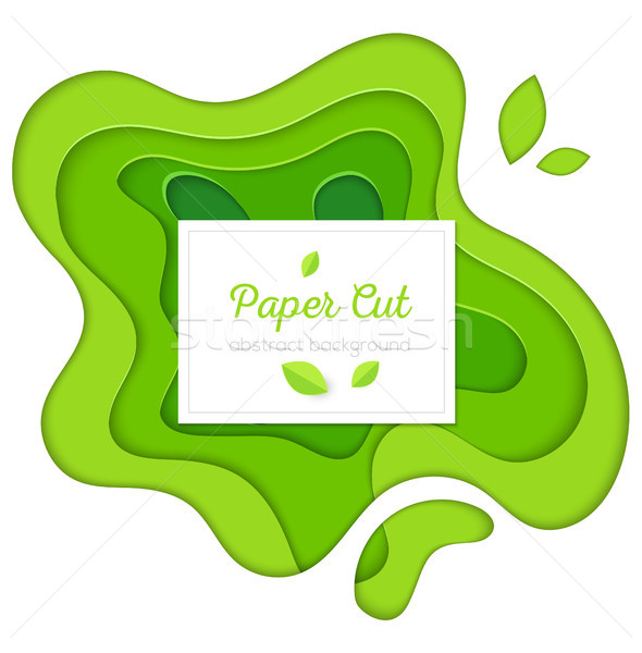 Green abstract poster - vector paper cut illustration Stock photo © Decorwithme