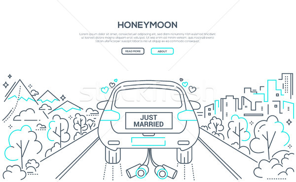 Honeymoon - line design style banner with place for text Stock photo © Decorwithme