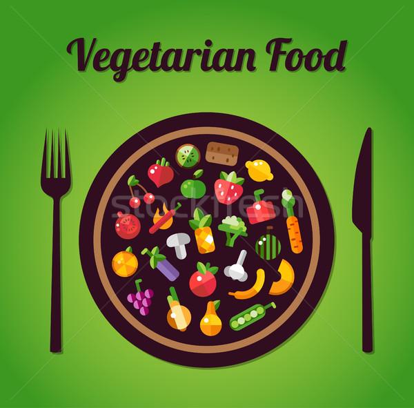 Illustratie ontwerp vruchten groenten iconen vector Stockfoto © Decorwithme