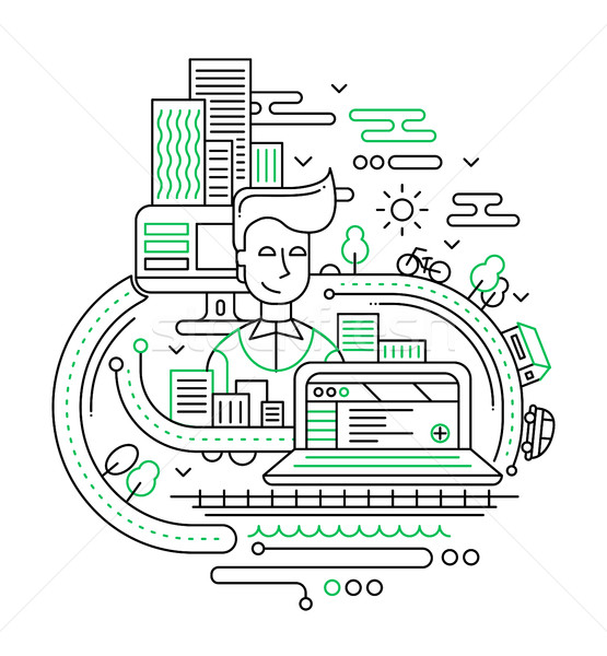 City lifestyle composition - line design illustration Stock photo © Decorwithme