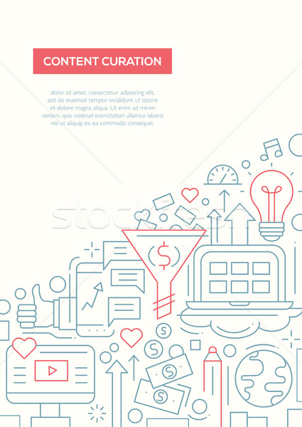 Content Curation - line design brochure poster template A4 Stock photo © Decorwithme