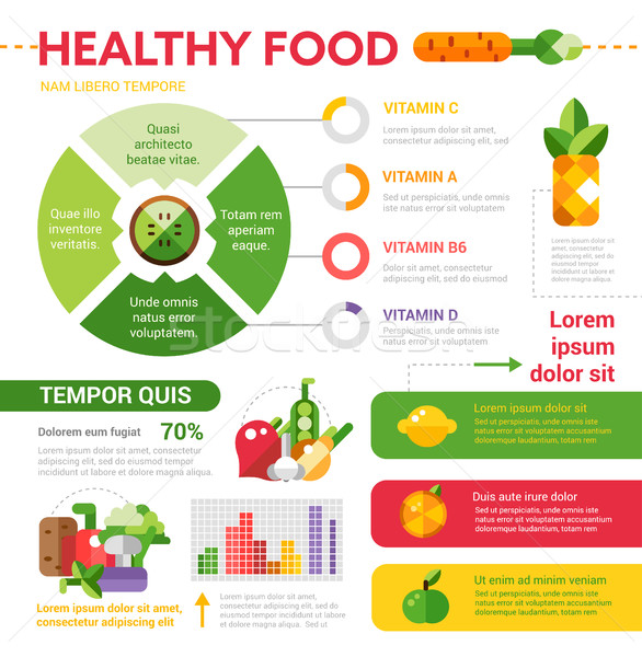 Healthy food vector illustrative template set with infographic elements Stock photo © Decorwithme
