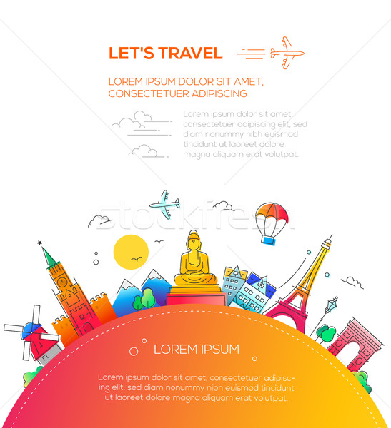 Lets Travel - flat design travel composition Stock photo © Decorwithme
