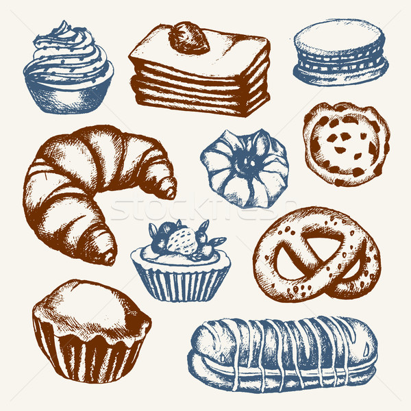 Delicious Sweets - color hand drawn illustrative composition. Stock photo © Decorwithme