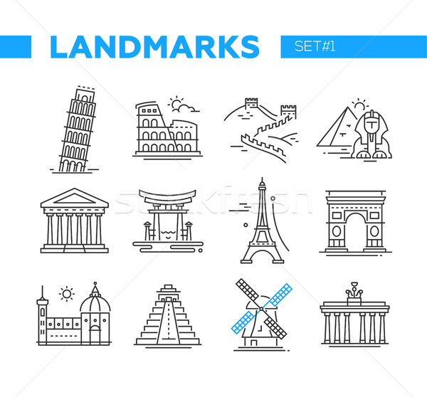 World Famous Landmarks - line design icons set Stock photo © Decorwithme