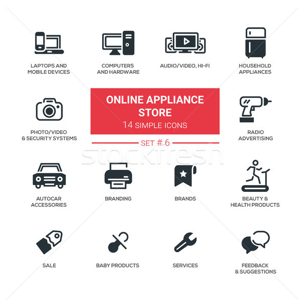 Online appliance store - Modern simple thin line design icons, pictograms set Stock photo © Decorwithme