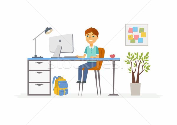 Online onderwijs illustratie schooljongen student home Stockfoto © Decorwithme