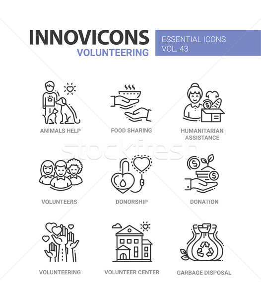 Volunteering - modern vector line icons set. Stock photo © Decorwithme