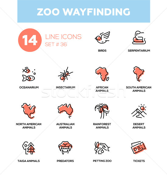 Stock photo: Zoo wayfinding - modern vector single line icons set
