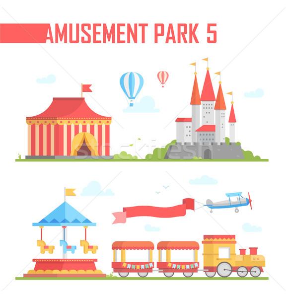 Set of amusement park elements - modern vector illustration Stock photo © Decorwithme