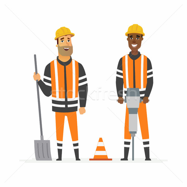 Road construction workers - cartoon people characters illustration Stock photo © Decorwithme