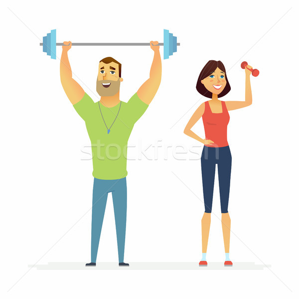 Fitness instructors - cartoon people characters illustration Stock photo © Decorwithme