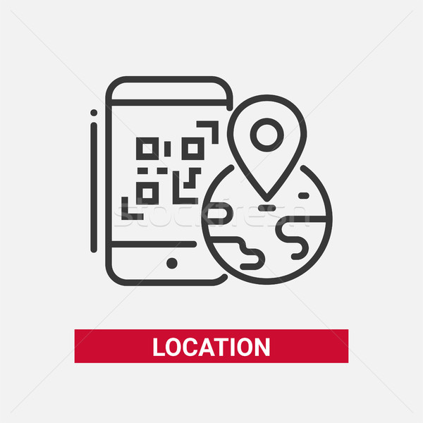 Location QR code - line design single isolated icon Stock photo © Decorwithme