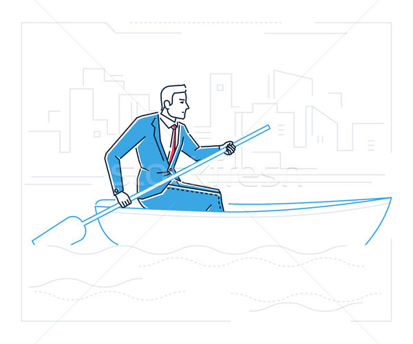 Stock photo: Businessman rowing a boat - line design style illustration