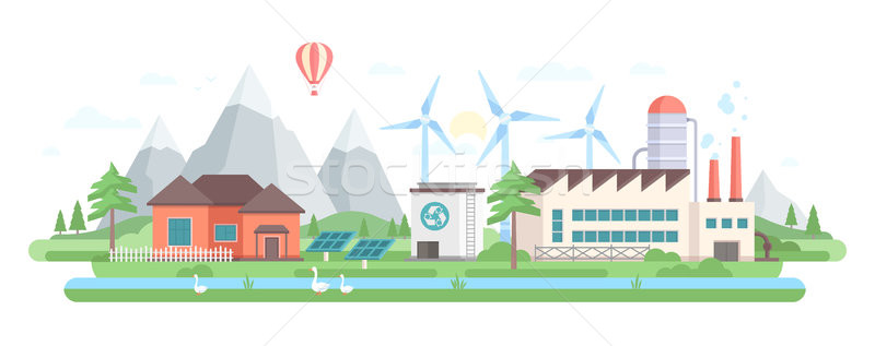 Eco-friendly factory - modern flat design style vector illustration Stock photo © Decorwithme