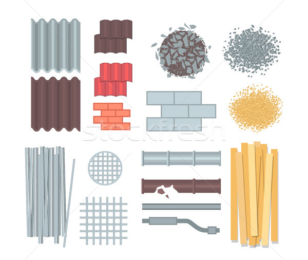 Construction materials - set of modern vector elements Stock photo © Decorwithme