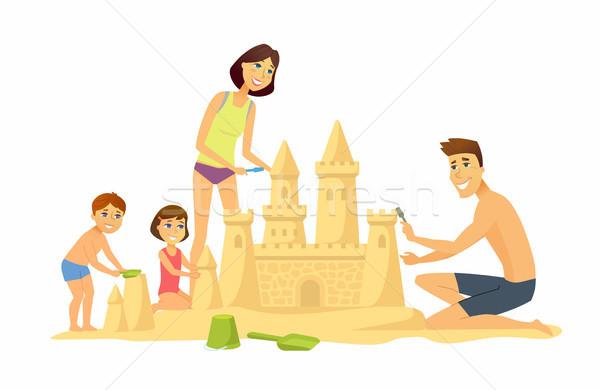 Boldog gyerekek tengerpart rajzolt emberek karakter illusztráció Stock fotó © Decorwithme