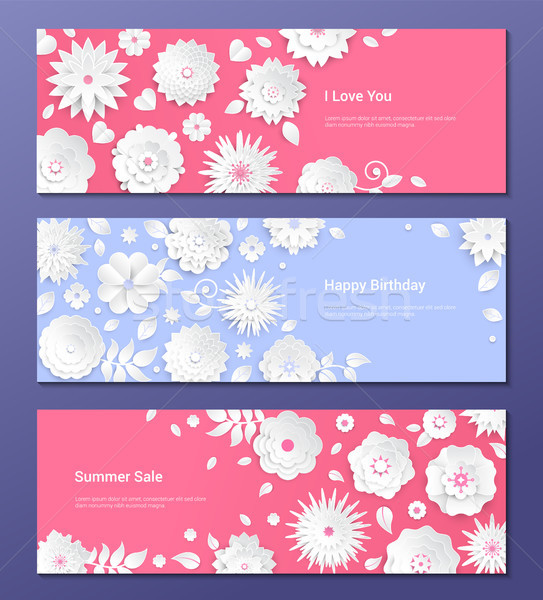 Paper cut flowers - set of modern colorful vector posters Stock photo © Decorwithme
