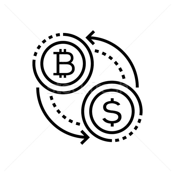 Cryptocurrency - line design single isolated icon Stock photo © Decorwithme