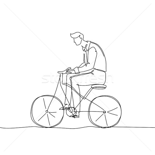 Boy riding a bicycle - one continuous line design style illustration Stock photo © Decorwithme