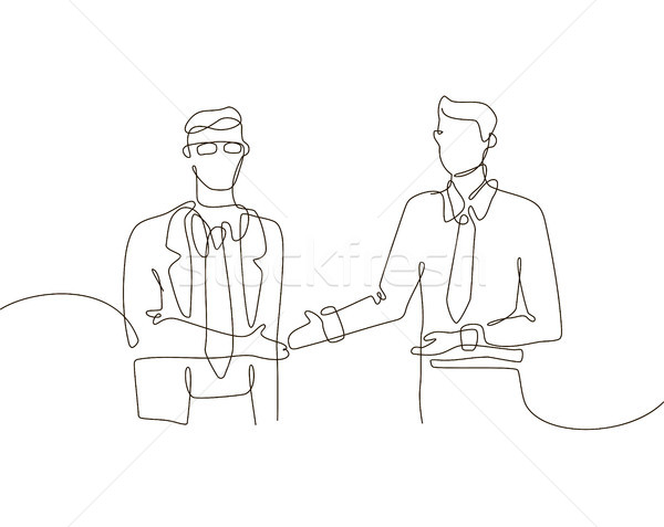 Business agreement - one line design style illustration Stock photo © Decorwithme