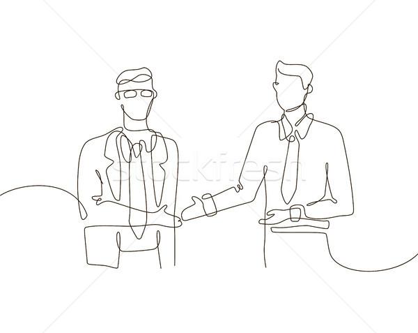 üzlet megállapodás egy vonal terv stílus Stock fotó © Decorwithme